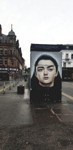 Street art mural of Arya in Northern Quarter Manchester