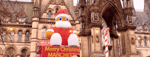 big Santa on Albert Square at Manchester Christmas markets