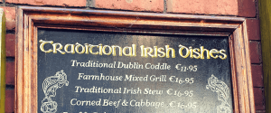 dishes from Dublin on a Dublin pub