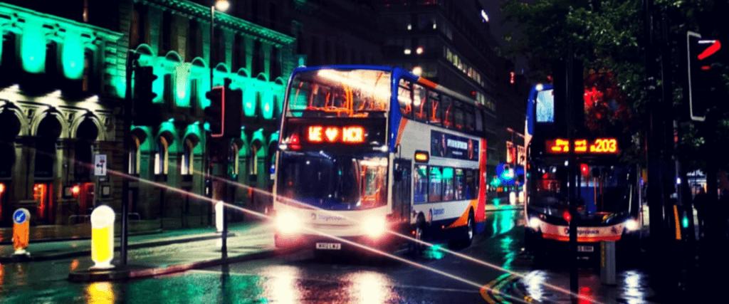 Manchester public transport bus at night