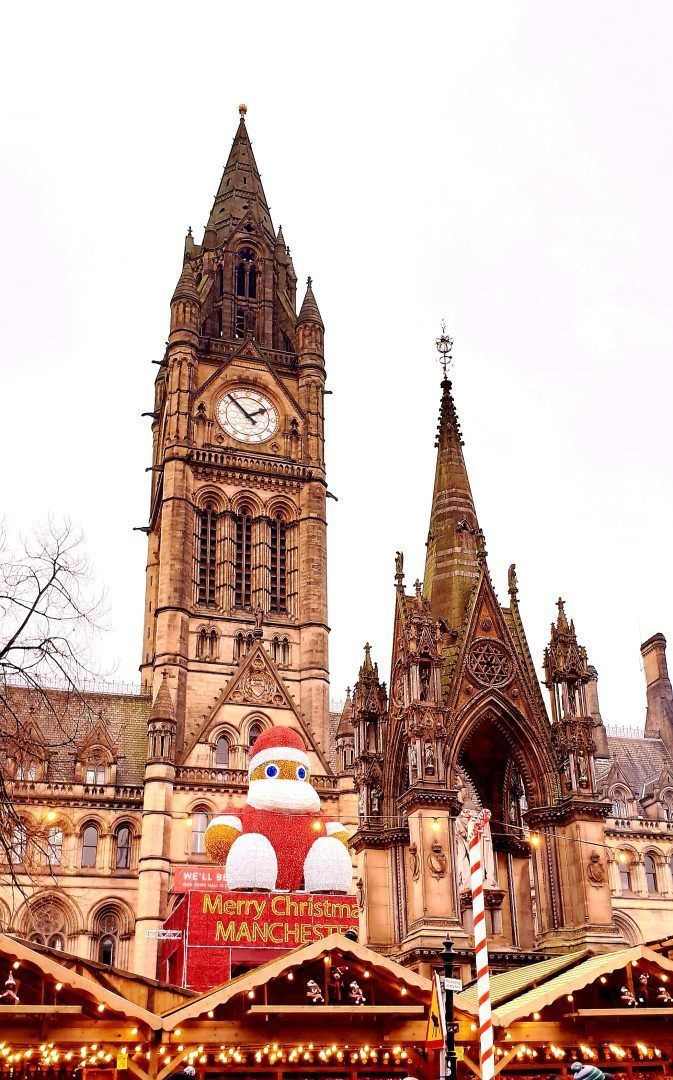 Albert Square Manchester Christmas markets with big Santa