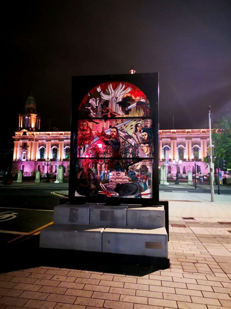 glass window battle Jon Snow Belfast city hall