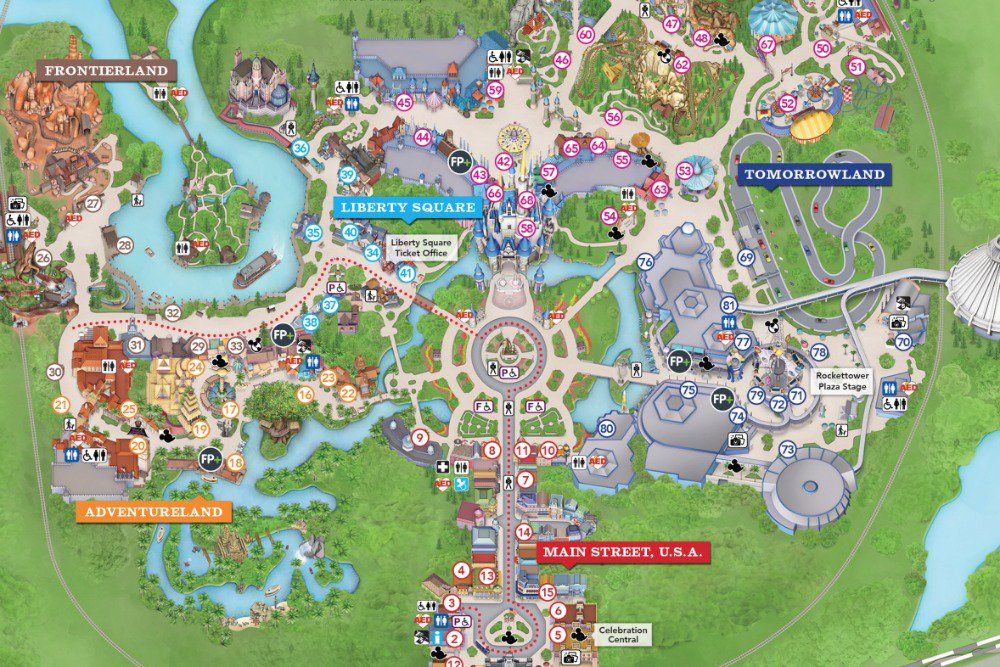 all lands in magic kingdom Orlando map