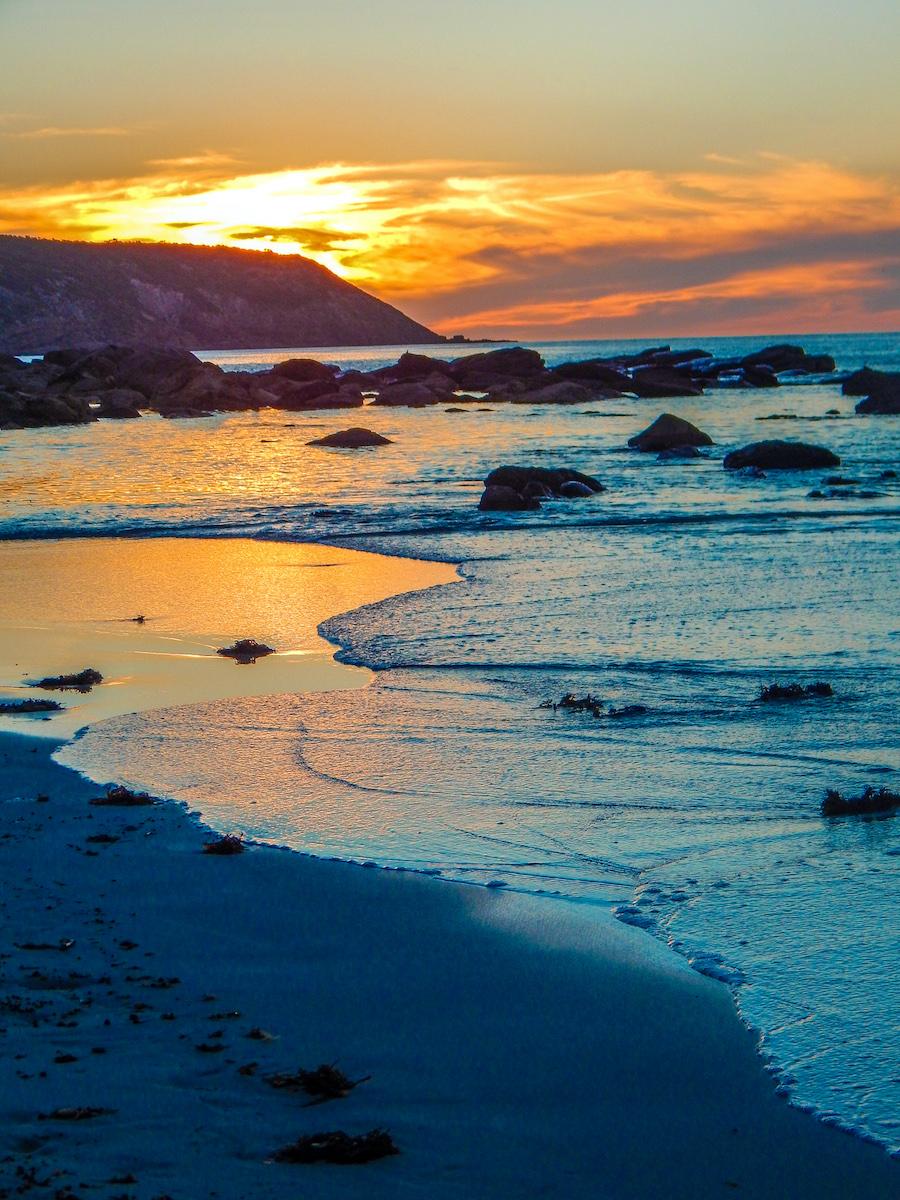 kangaroo island stokes bay sunset