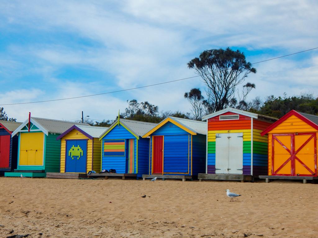 brighton beach bathing boxes near Melbourne
