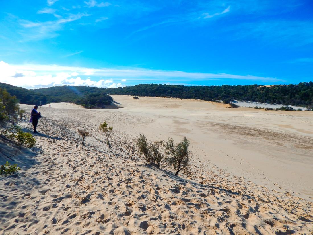 Fraser island sand dunes near lake wabby