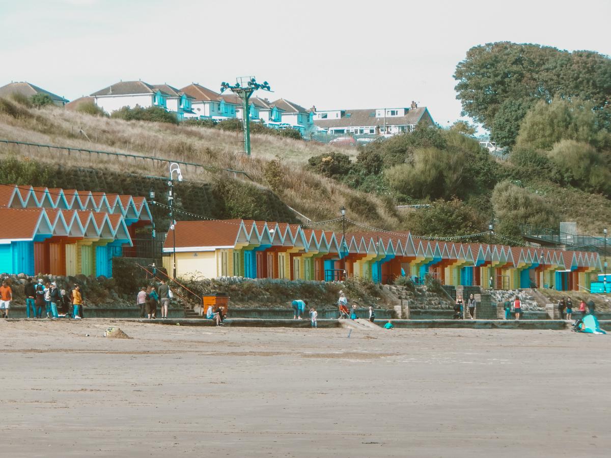 Beach huts in Yorkshire coast Scarborough