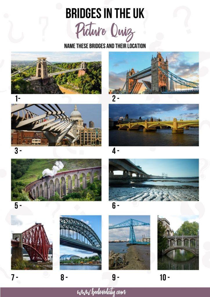Trivia Birdge in the UK Picture Quiz