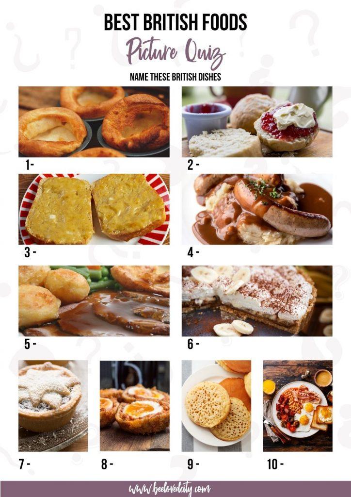 Trivia British Food Picture Quiz