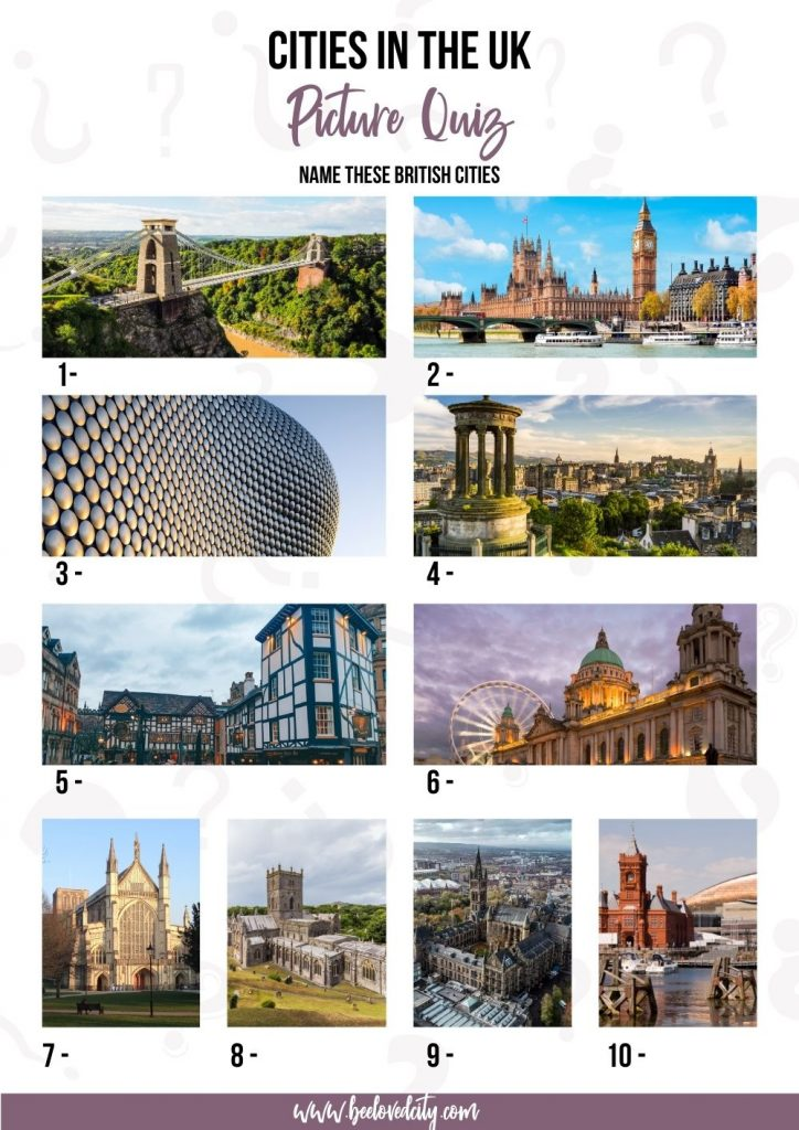 Cities in the UK Picture Quiz