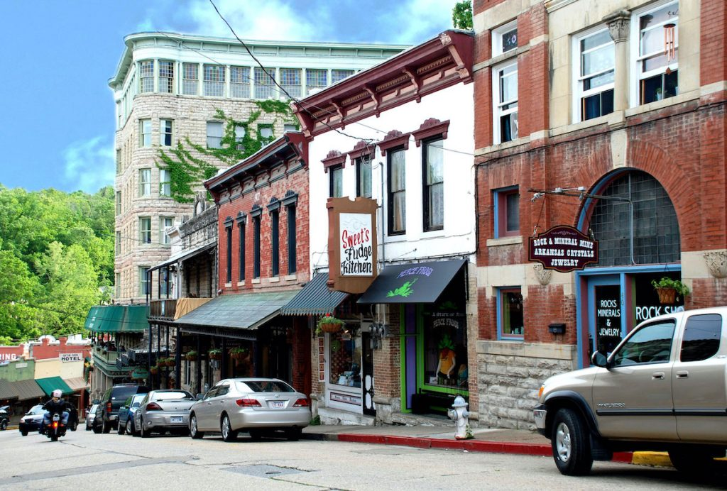 Small town of Eureka Springs in the USA