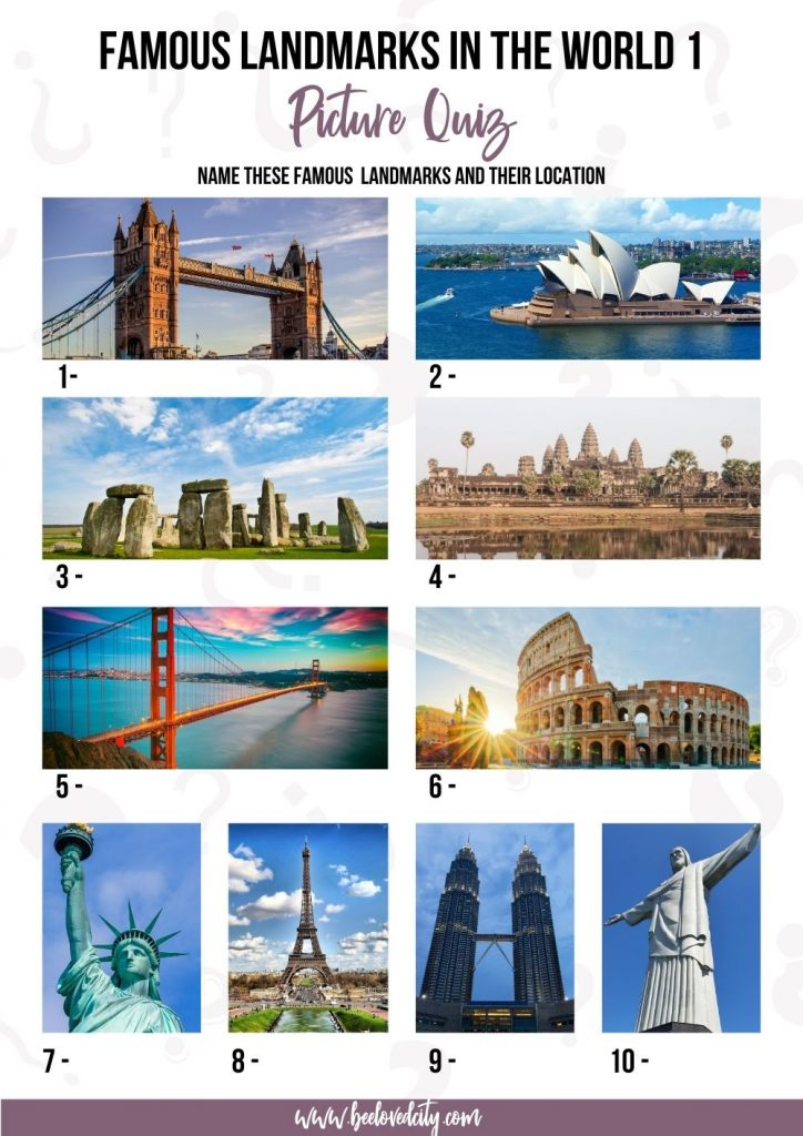 Famous landmarks in the world Picture Quiz
