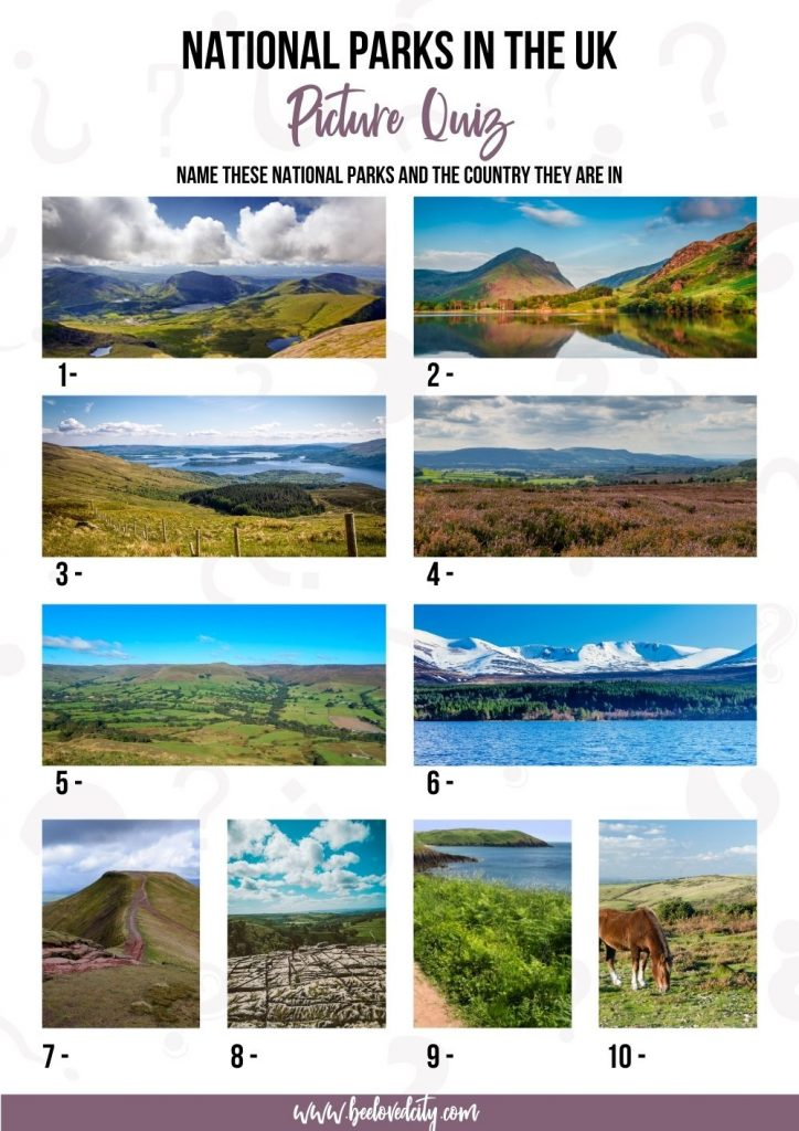 Trivia National Parks in the UK Picture Quiz