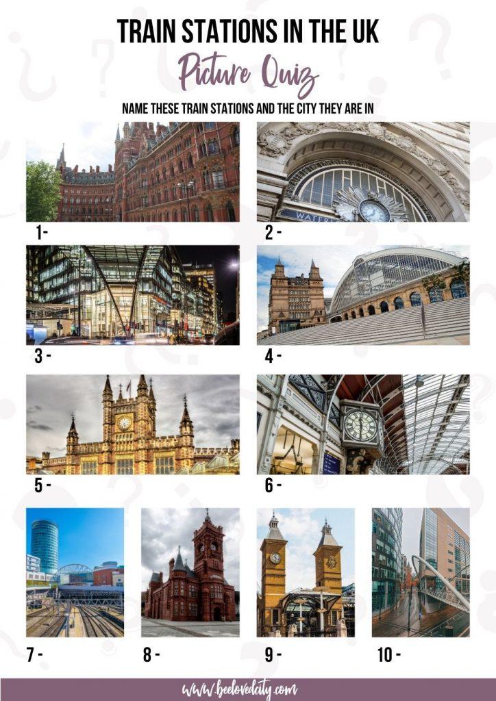 Trivia train station UK Picture quiz
