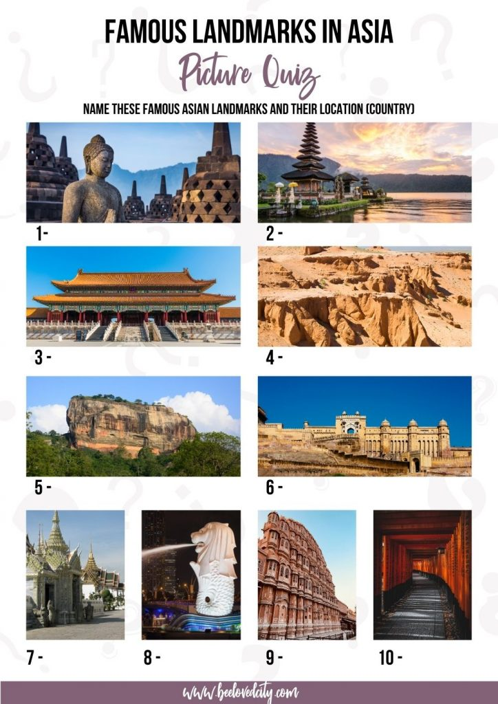 Famous landmarks in Asia picture quiz
