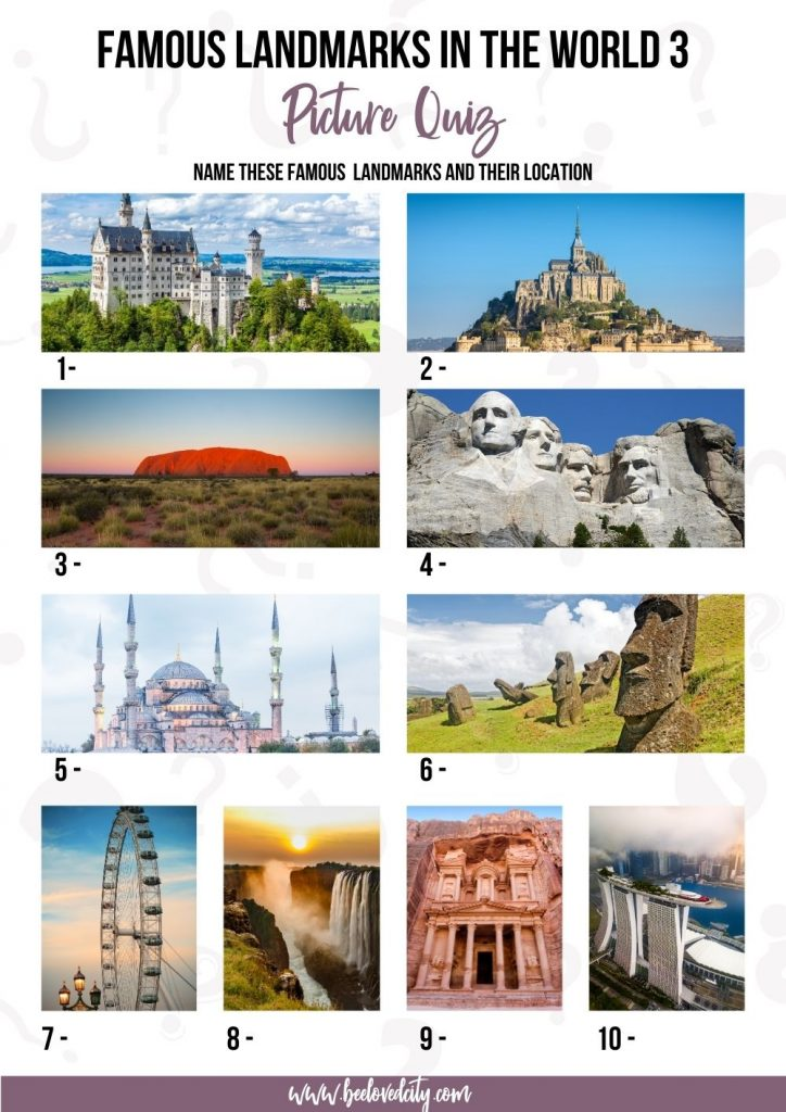 World's landmarks picture trivia
