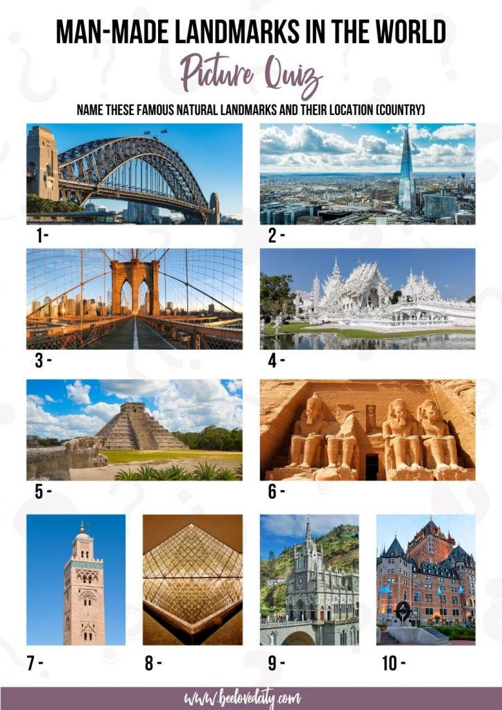 Man made landmarks in the world picture round