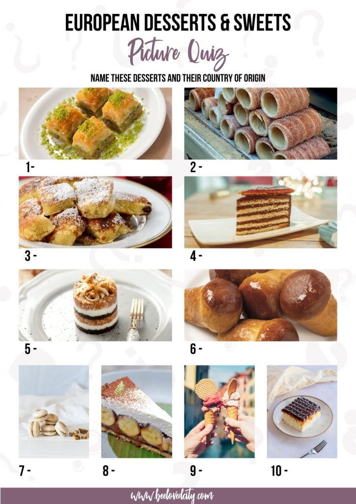 desserts in europe picture quiz