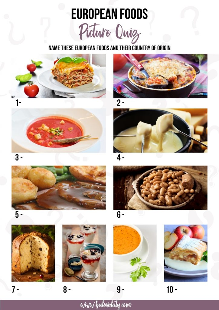 Picture quiz European food