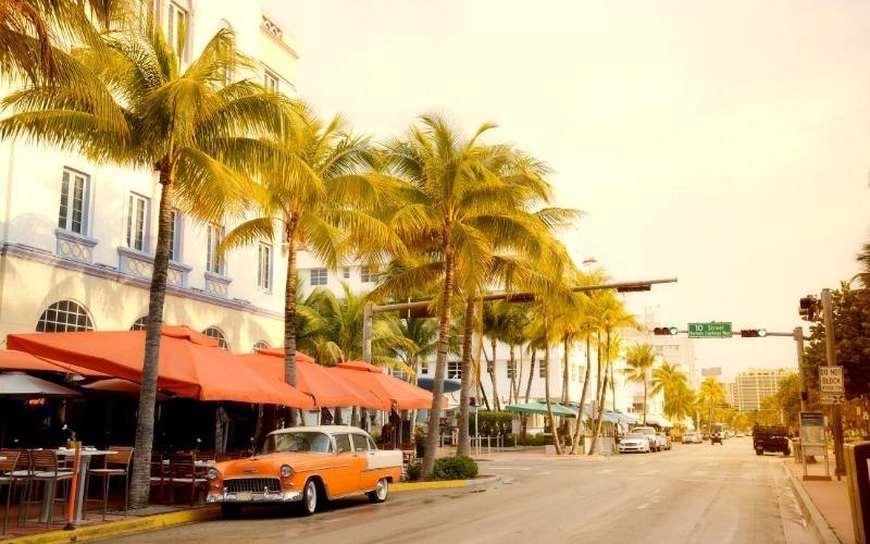 Vintage car on Ocean Drive Miami