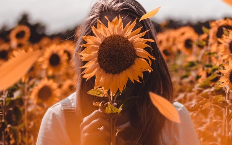 Girl in a sunflower field