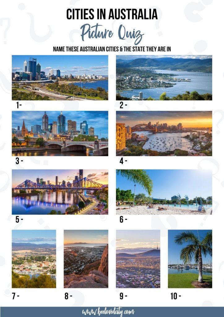 Australian Cities Picture Quiz