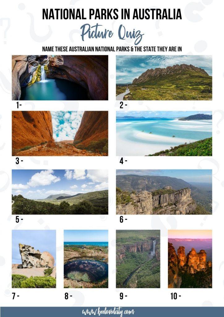 Famous National Parks in Australia Picture Quiz