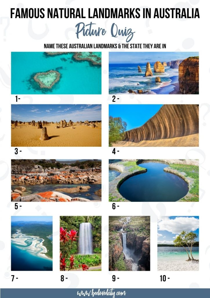 Natural Australian landmarks quiz