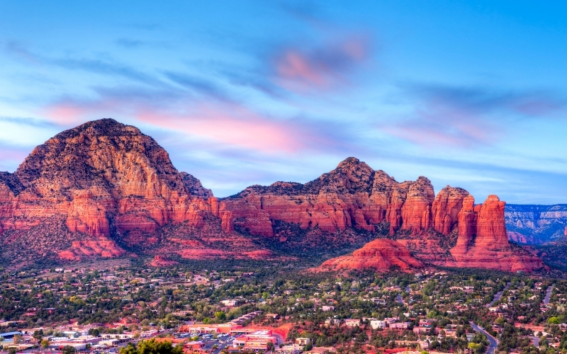 View of Sedona in Arizona and red rock