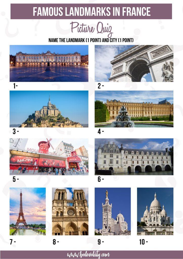 Landmarks in France Picture Quiz