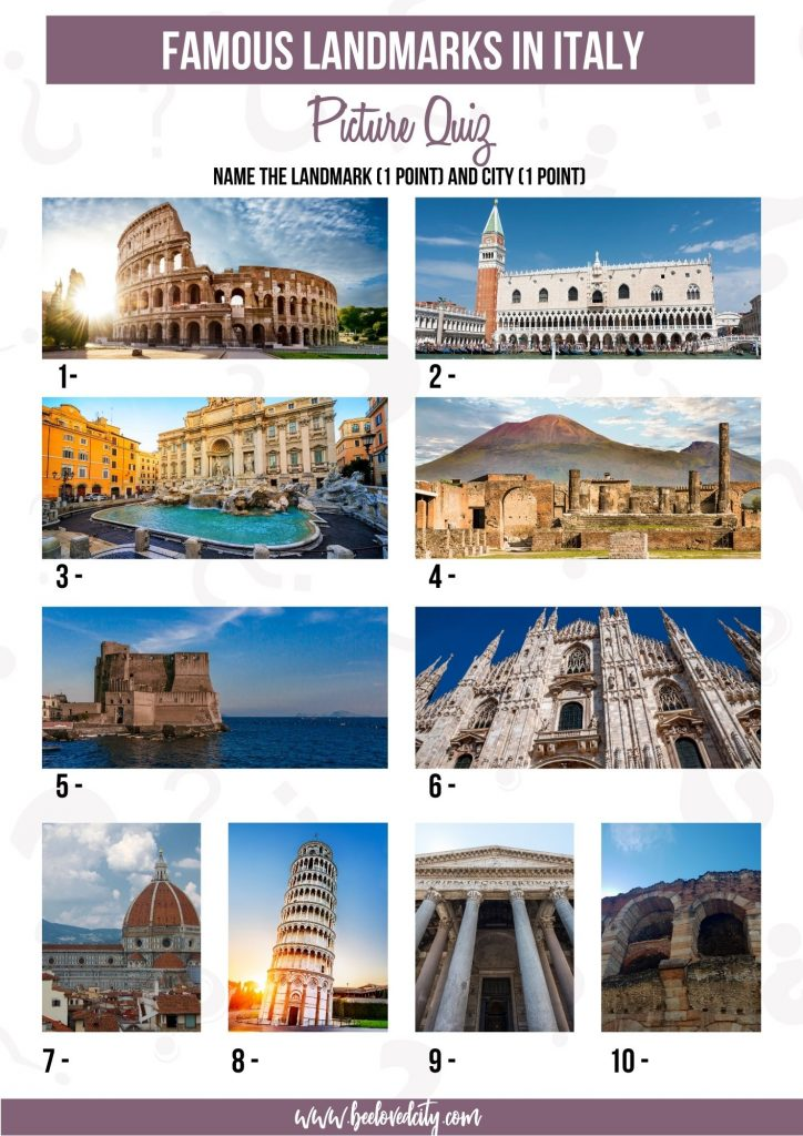 Landmarks in Italy Picture Quiz