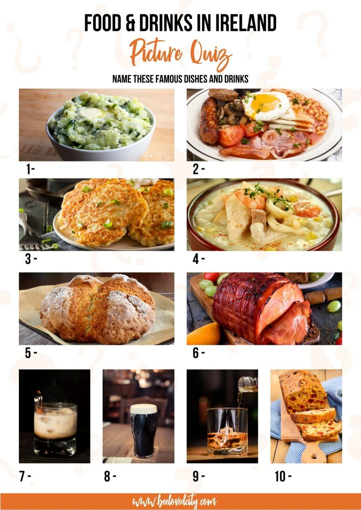 Irish food and drinks Picture Quiz