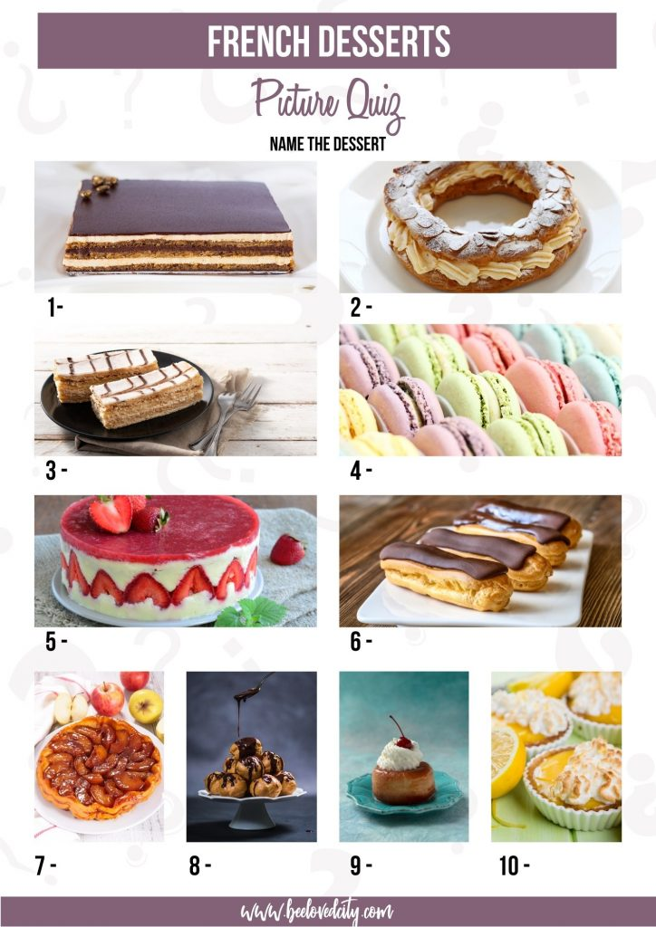 Picture quiz Desserts in France