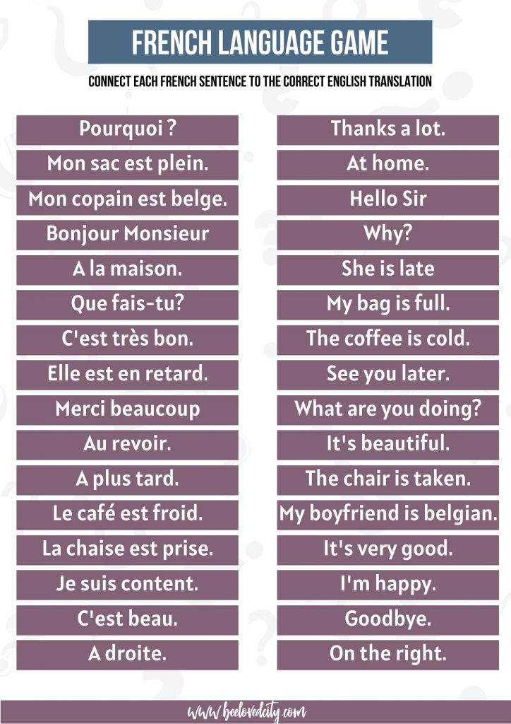 French language quiz questions