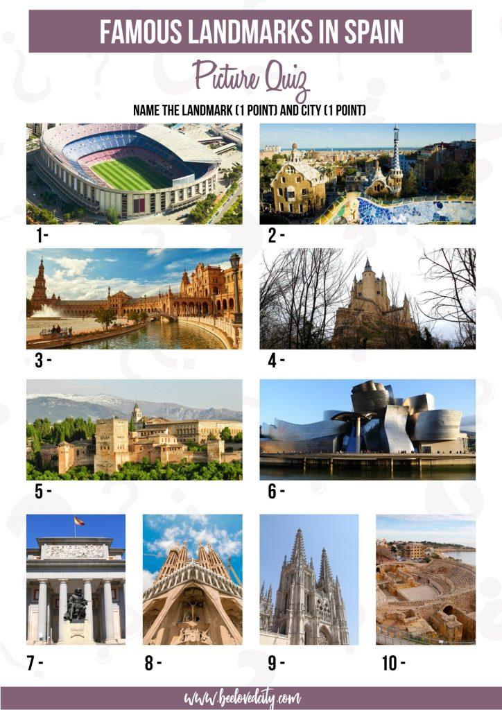 Spanish landmarks Picture Quiz