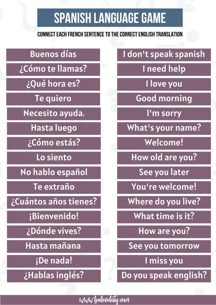 Spanish Language Game Questions