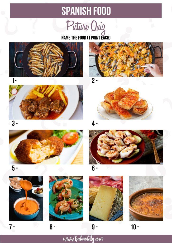 Spanish food picture quiz
